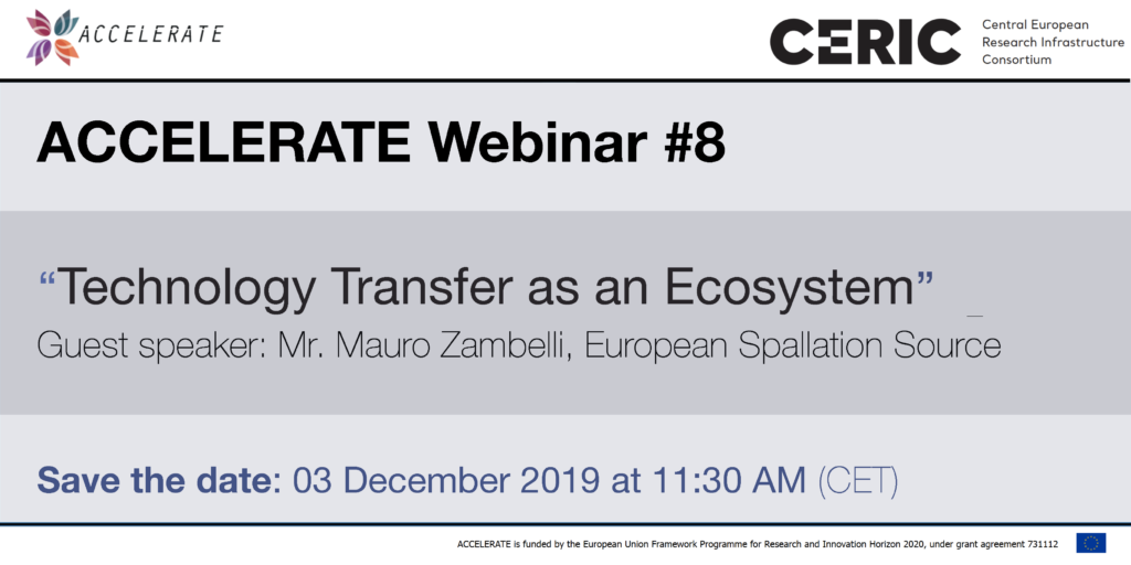 ACCELERATE webinar #8: Technology Transfer as an Ecosystem @ Online
