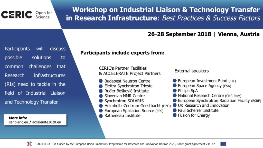 Workshop on Industrial Liaison & Technology Transfer in Research Infrastructures: Best Practices & Success Factors @ Vienna | Vienna | Austria